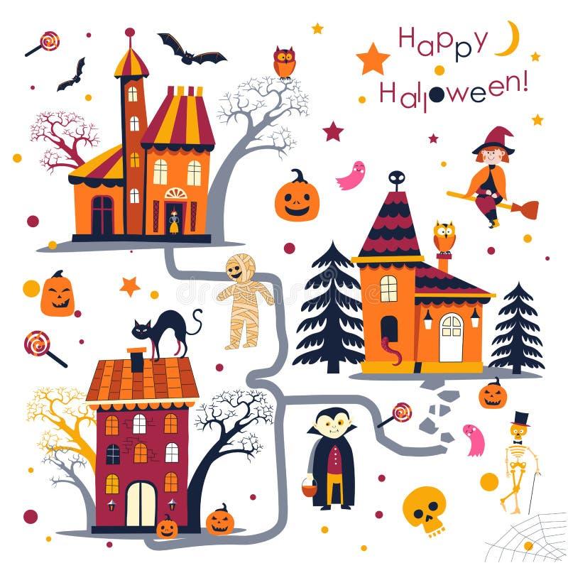 Szczęśliwy Halloweenowy wakacje w jesieni, domy z charakterami royalty ilustracja