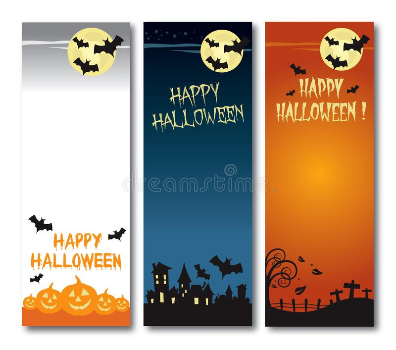Szczęśliwy Halloweenowy wektorowy ilustracyjny pionowo sztandaru set royalty ilustracja