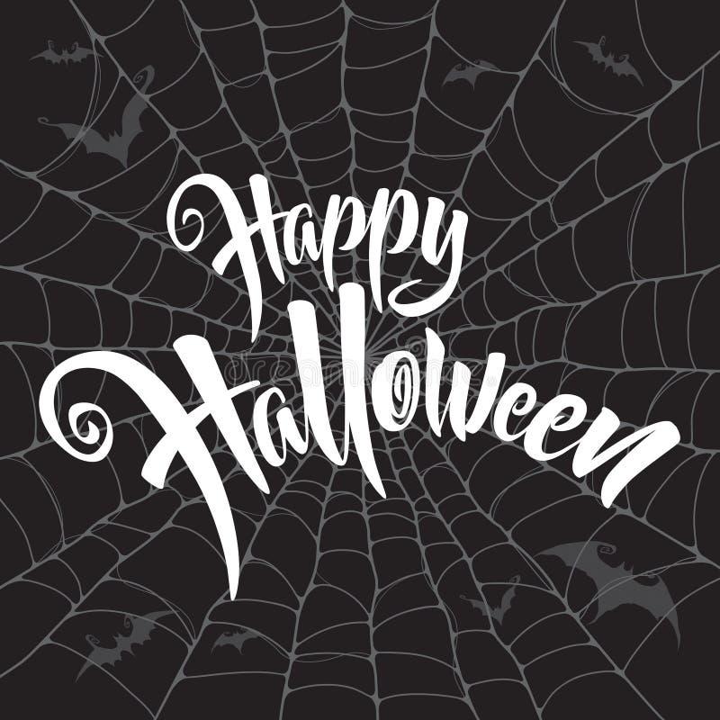 Szczęśliwy Halloweenowy wektorowy literowanie Straszny pająk sieci tło ilustracja wektor