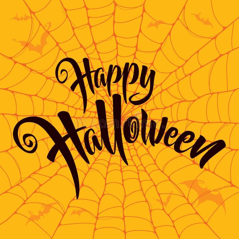 Szczęśliwy Halloweenowy wektorowy literowanie Straszny pająk sieci tło ilustracji