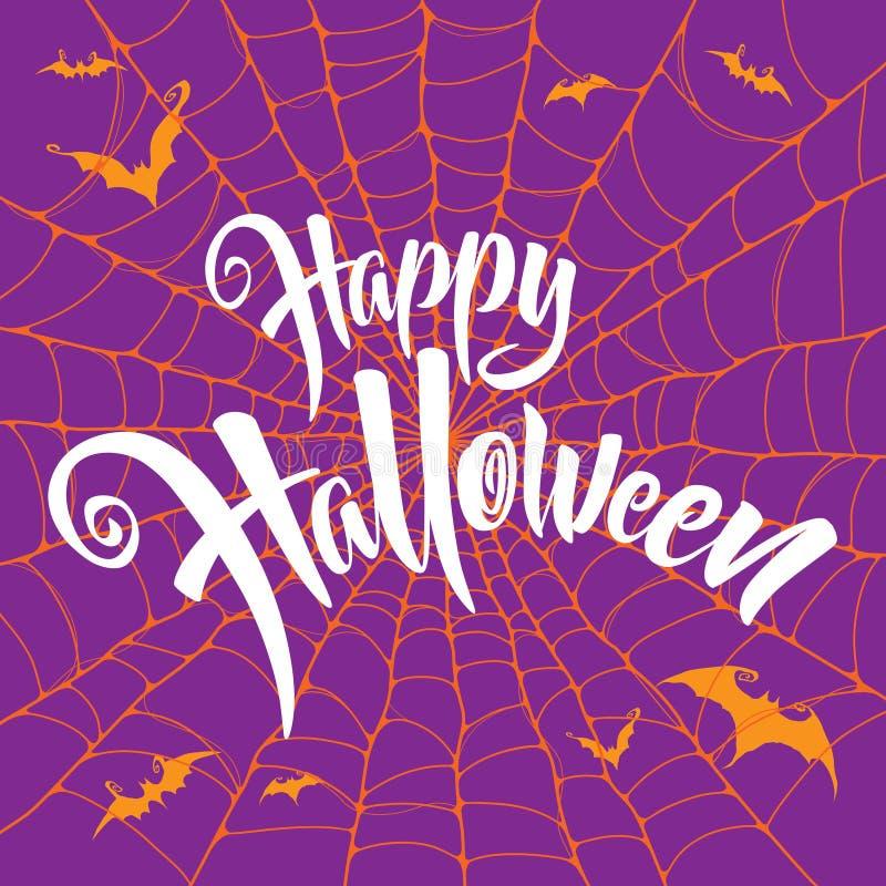 Szczęśliwy Halloweenowy wektorowy literowanie Straszny pająk sieci tło royalty ilustracja