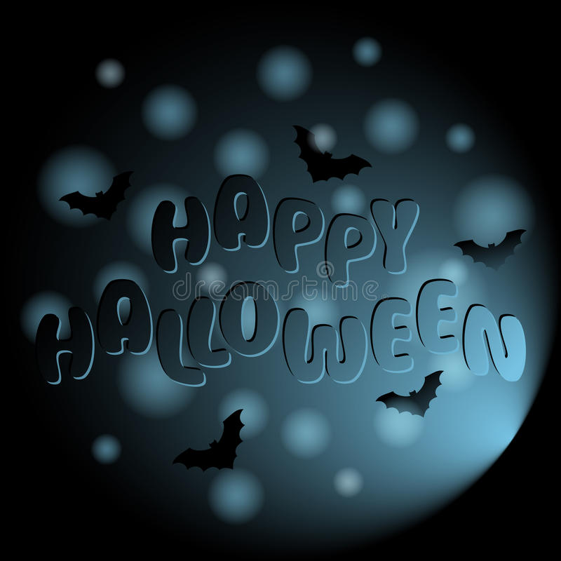 Szczęśliwy Halloweenowy wektorowy tło z literowaniem i nietoperzami royalty ilustracja