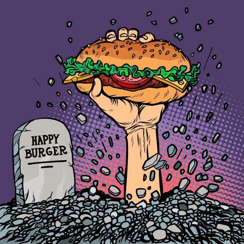 Szczęśliwy hamburger fasta food żywy trup w grób ilustracji