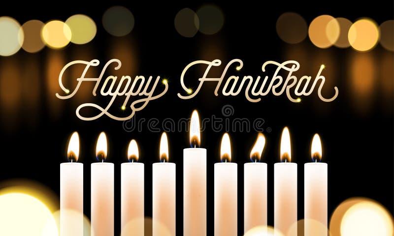 Szczęśliwy Hanukkah świeczki świateł bokeh i złoty kaligrafia tekst dla Żydowskiego wakacyjnego kartka z pozdrowieniami projekta