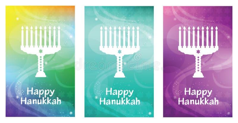 Szczęśliwy Hanukkah kartka z pozdrowieniami z literowaniem i menorah Żydowski wakacyjny magiczny sztandaru szablon