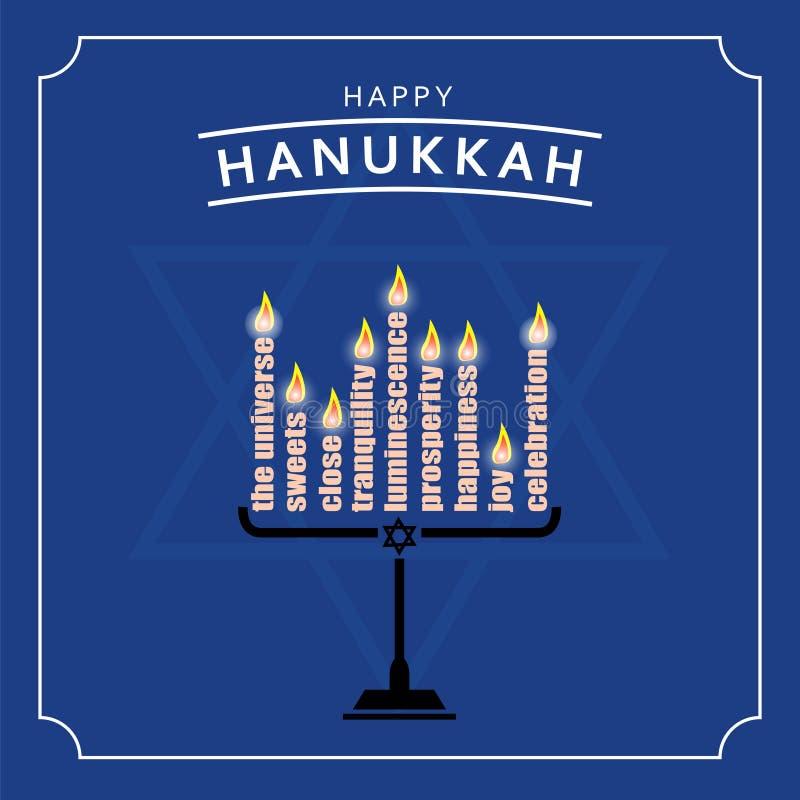 Szczęśliwy Hanukkah kartka z pozdrowieniami projekt również zwrócić corel ilustracji wektora royalty ilustracja