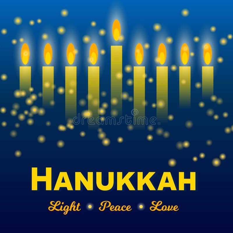 Szczęśliwy Hanukkah kartka z pozdrowieniami, Hanukkah zaświeca na ciemnym gwiaździstej nocy tle