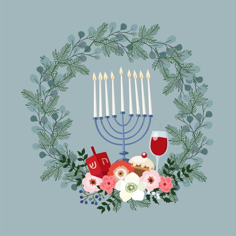 Szczęśliwy Hanukkah kartka z pozdrowieniami, zaproszenie z ręka rysującym candleholder, dreidle, pączek i kwiecisty wianek, wekto ilustracji