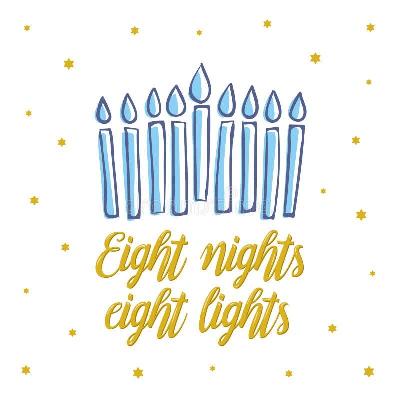 Szczęśliwy Hanukkah, osiem nocy osiem świateł pisać list Żydowski wakacyjny elegancki kartka z pozdrowieniami szablon z menorah U