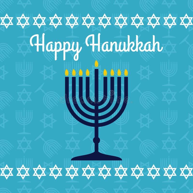 Szczęśliwy Hanukkah plakat, kartka z pozdrowieniami z menorah lub