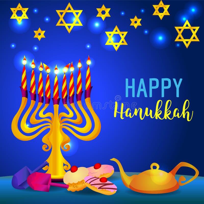 Szczęśliwy Hanukkah pojęcia wakacyjny tło, kreskówka styl ilustracji