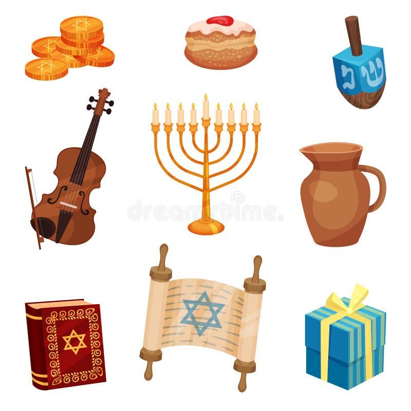 Szczęśliwy Hanukkah pojęcie Żydowskie tradycje i kultura royalty ilustracja