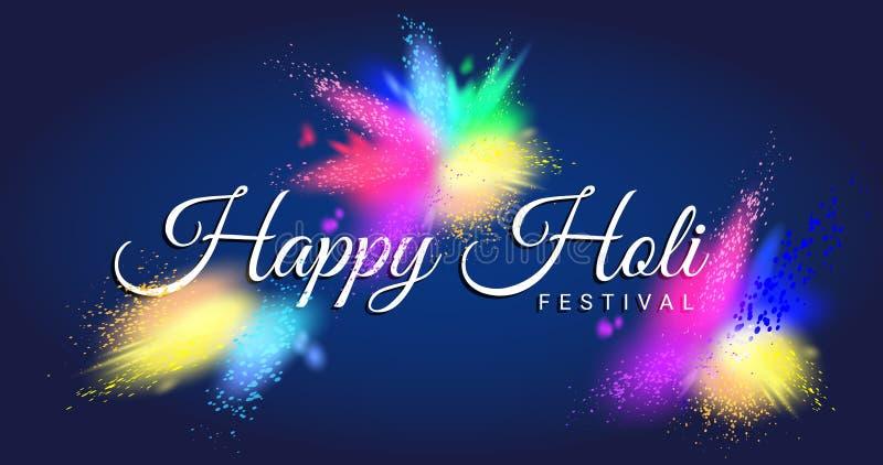 Szczęśliwy Holi festiwal z kolorowym Gulal ilustracja wektor