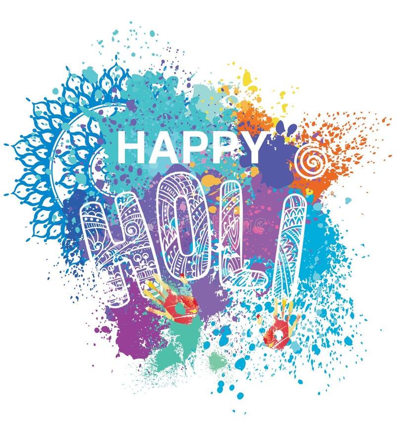 Szczęśliwy Holi na kolorowym tle royalty ilustracja
