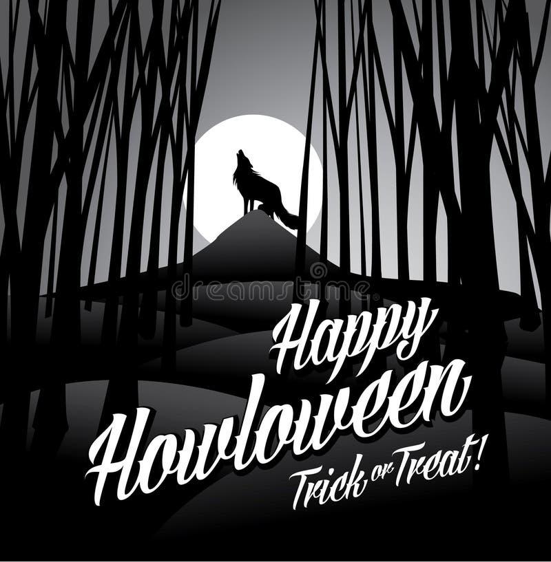 Szczęśliwy howloween wący wilka i księżyc w pełni royalty ilustracja