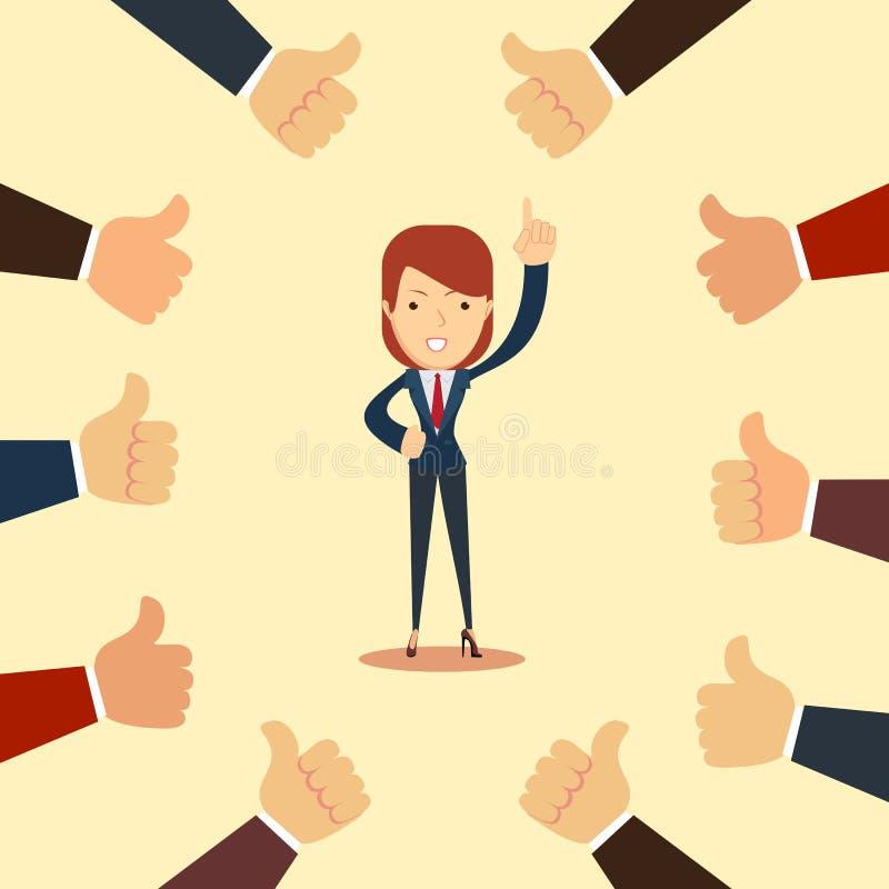 Szczęśliwy i dumny bizneswoman z wiele aprobat rękami wokoło on ilustracja wektor