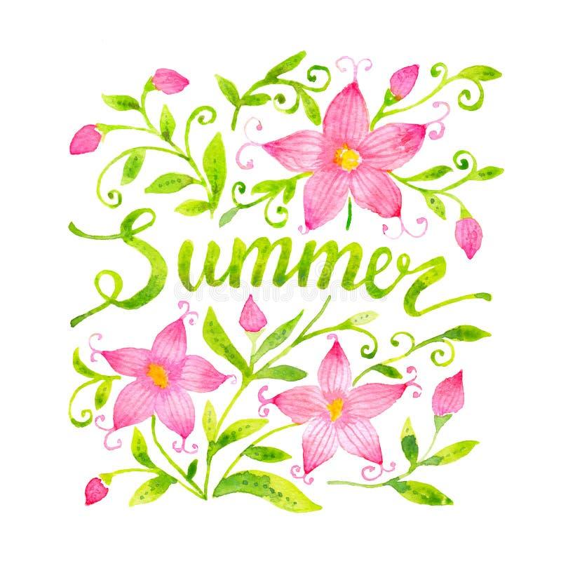 Szczęśliwy i jaskrawy gotuje karcianego szablon z literowaniem i kwiecistym ornamentem Ręka rysujący akwarela liście i kwiaty ilustracja wektor