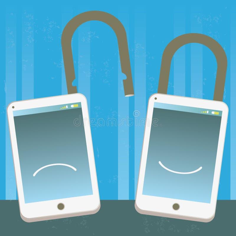 Szczęśliwy i nieszczęśliwy telefon zamknięty i otwierający ilustracji