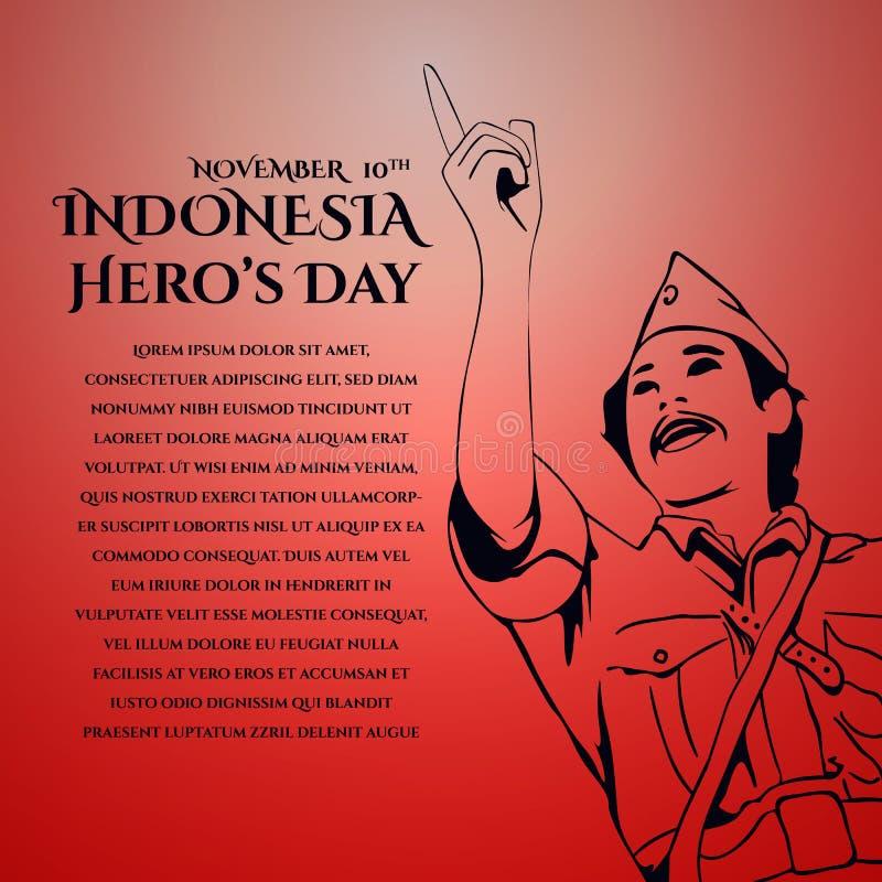 Szczęśliwy Indonezja bohatera dnia kartka z pozdrowieniami projekt ilustracji
