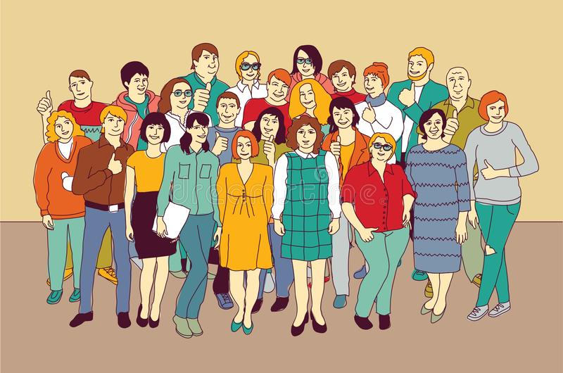 Szczęśliwy jak dorosli duzi grupowi przypadkowi Kaukascy ludzie ilustracji