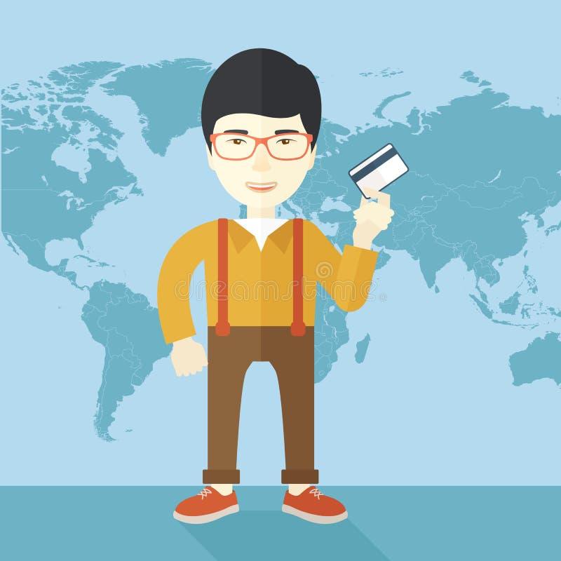 Szczęśliwy japoński biznesmen ilustracja wektor