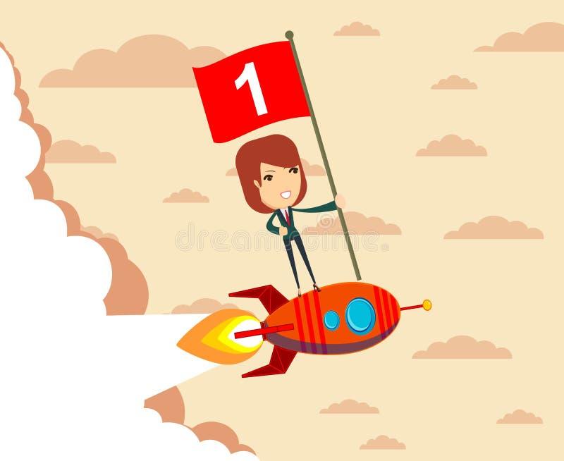 Szczęśliwy jeden kobiety mienia liczby chorągwiana pozycja na rakietowym statku ilustracji