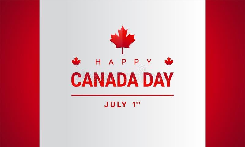 Szczęśliwy Kanada dnia kartka z pozdrowieniami - Kanada liścia klonowego flaga wektor royalty ilustracja