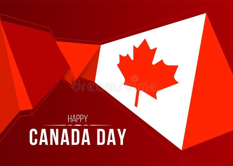 Szczęśliwy Kanada dnia sztandar z abstrakcjonistycznego nowożytnego kształta Canada niską poli- flaga na czerwonego tła wektorowy royalty ilustracja