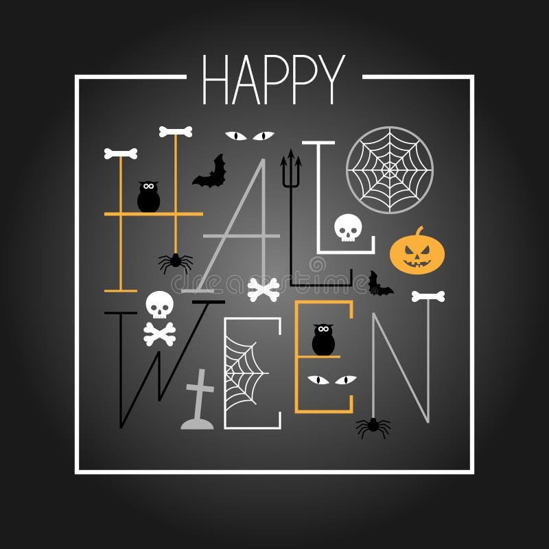 szczęśliwy karciany Halloween ilustracja wektor