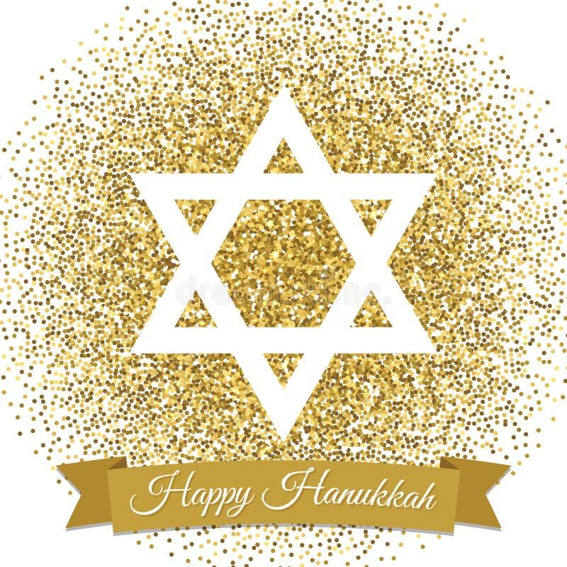 szczęśliwy karciany Hanukkah Gwiazda Dawidowa z złocistym błyskotliwość skutkiem ilustracja wektor