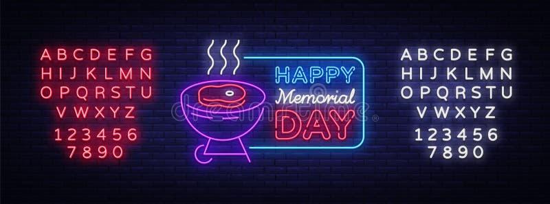Szczęśliwy kartka z pozdrowieniami dla dnia pamięci neonowego znaka Szczęśliwy dzień pamięć - grilla grilla BBQ sztandar w neonow royalty ilustracja