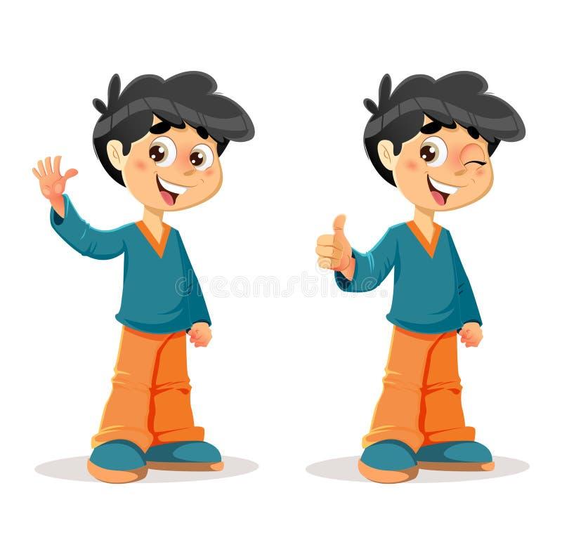 Szczęśliwy kciuk W górę Młodych chłopiec wyrażeń ilustracji