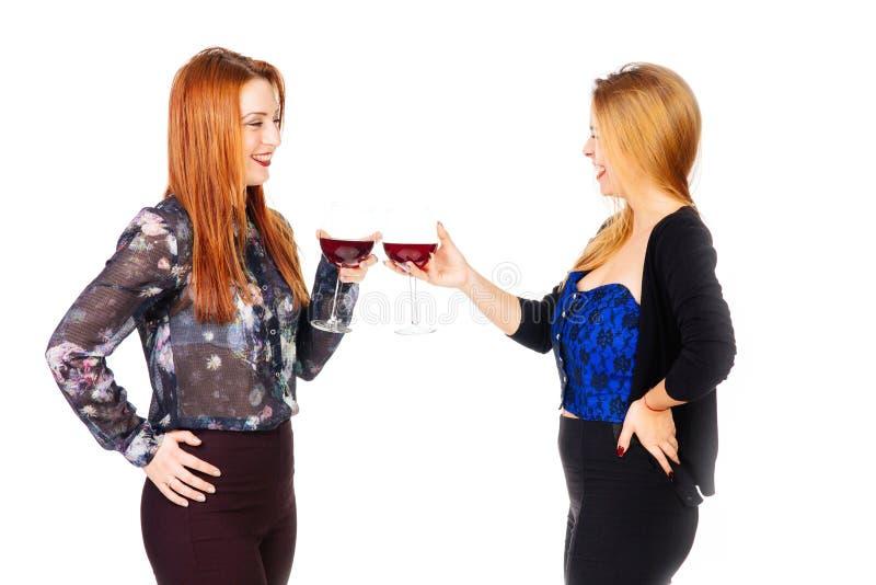 Szczęśliwy kobiet wznosić toast fotografia stock