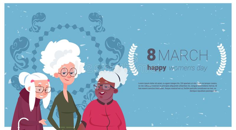 Szczęśliwy kobieta dnia karty Holidaqy sztandar Z grupą Starsi 8 damy babci Marcowy pojęcie ilustracji