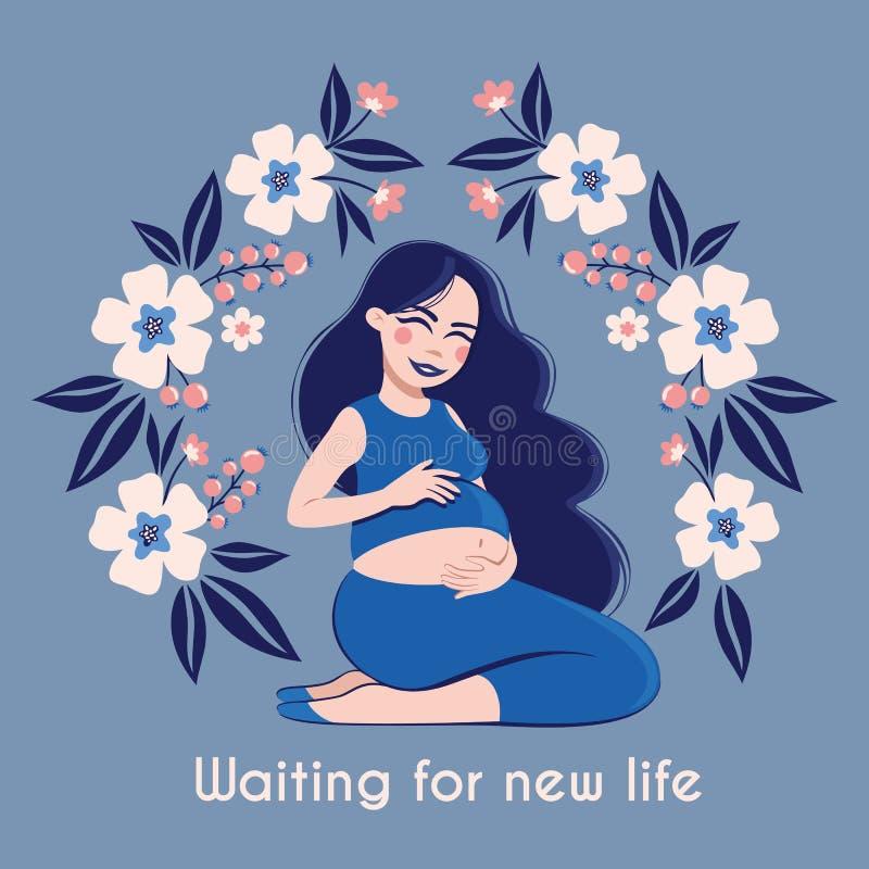 Szczęśliwy kobieta w ciąży Czuje jej dziecka Czeka nowy życie royalty ilustracja