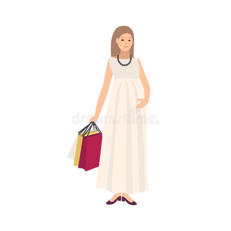 Szczęśliwy kobieta w ciąży jest ubranym suknię i niesie torba na zakupy z zakupami odizolowywającymi na białym tle mama młodo ilustracja wektor