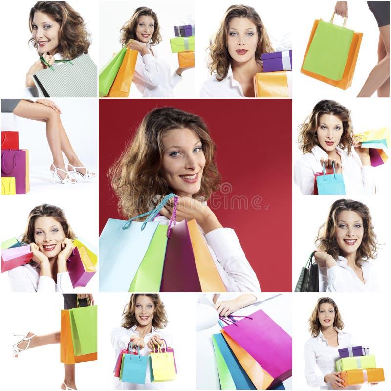 Szczęśliwy kobieta zakupy kolaż obrazy royalty free