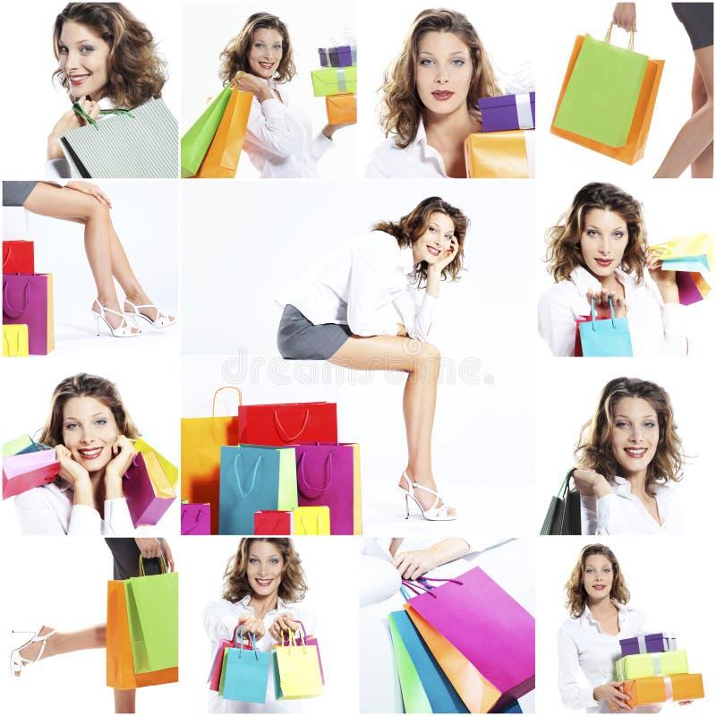 Szczęśliwy kobieta zakupy kolaż zdjęcia royalty free