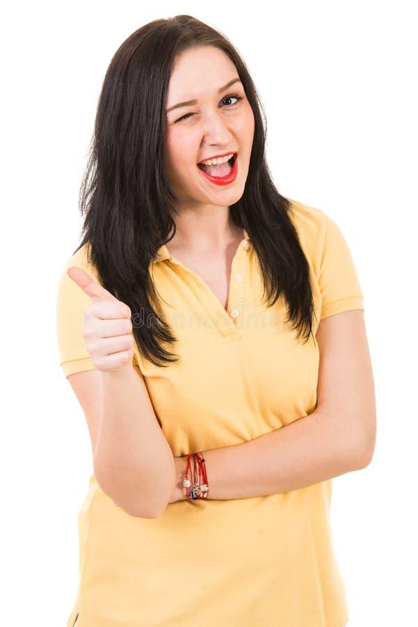 Szczęśliwy kobiety mrugnięcie oko obrazy royalty free