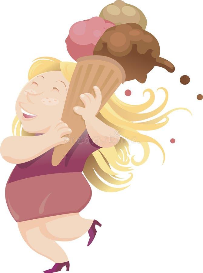 Szczęśliwy kobiety odprowadzenie z jej mega lody rożkiem zdjęcia stock