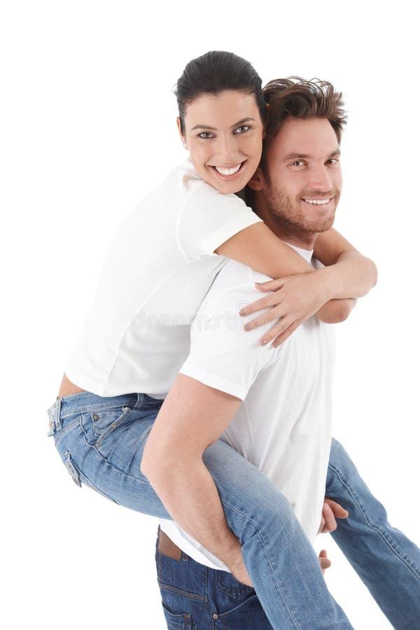 Szczęśliwy kochający ja target1294_0_ pary fotografia stock