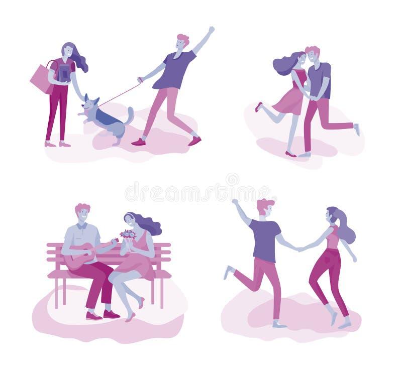 Szczęśliwy kochanka związek, sceny z romantycznym pary całowaniem, przytulenie, jeździecki bicykl, odprowadzenie, bawić się tenis royalty ilustracja