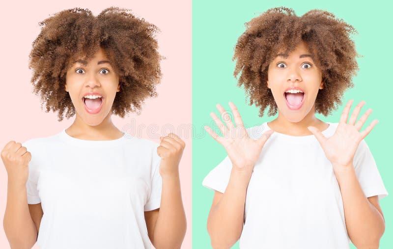 Szczęśliwy kolaż młoda ciemna skóry kobieta na kolorowym tle w tshirt odziewa kosmos kopii Egzamin próbny Up Biały szablon zdjęcia stock