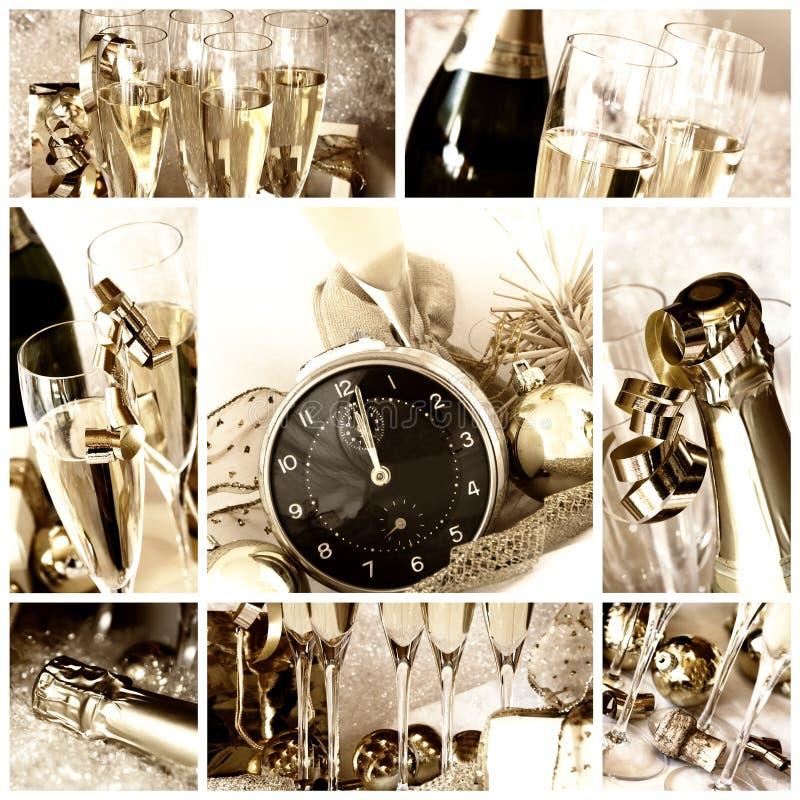 szczęśliwy kolażu nowy rok zdjęcie stock