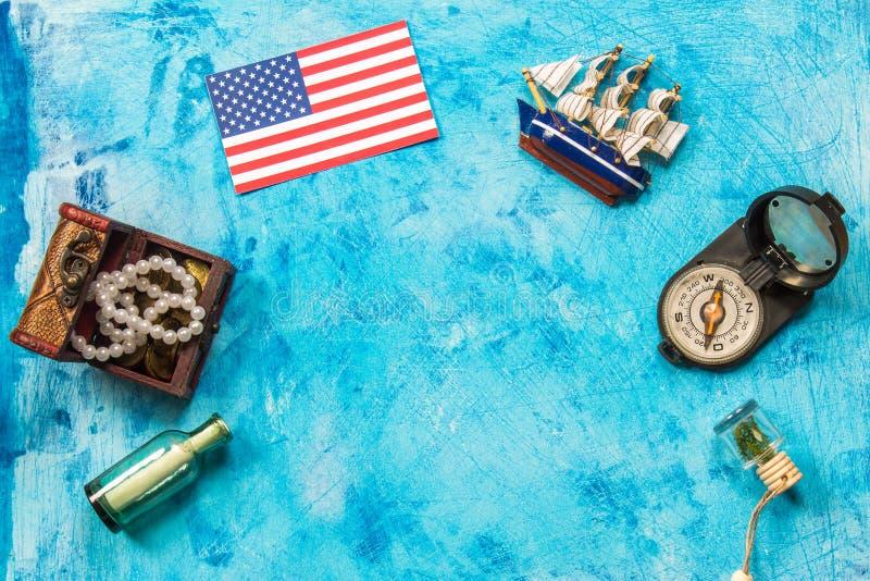 Szczęśliwy Kolumb dnia tekst Pojęcie USA wakacje Odkrywca Ameryka Wakacyjni stany zdjęcia royalty free