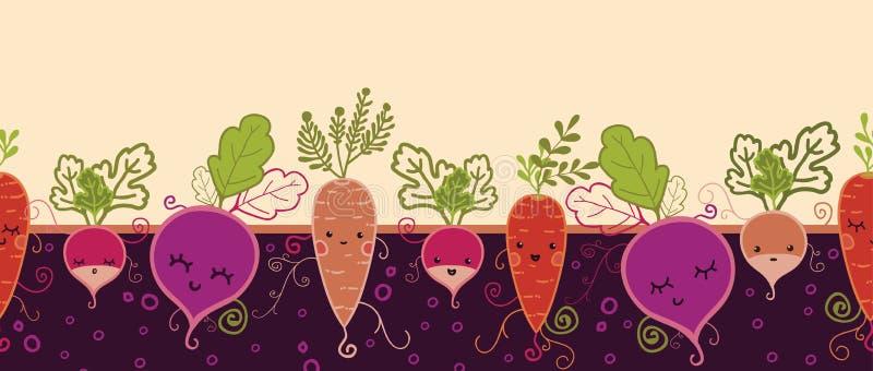 Szczęśliwy korzeniowych warzyw horyzontalny bezszwowy wzór ilustracja wektor