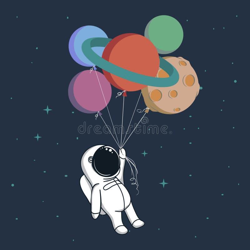 Szczęśliwy kosmita z planetami ilustracja wektor