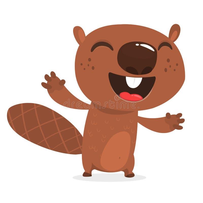 Szczęśliwy kreskówka bobra śmiać się Brown bobra charakter Wektorowy ilustracyjny clipart Duży set lasowi zwierzęta ilustracji