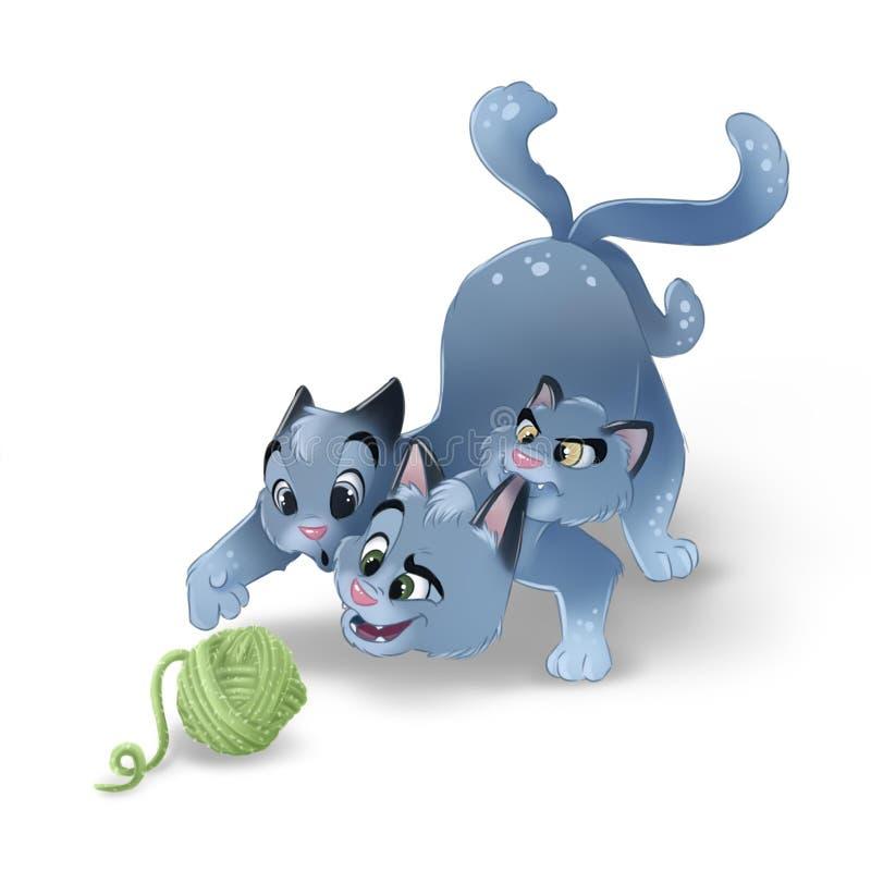 Szczęśliwy kreskówka kot bawić się z piłką odizolowywającą wełna Trzy kota głowiasta ilustracja ilustracja wektor