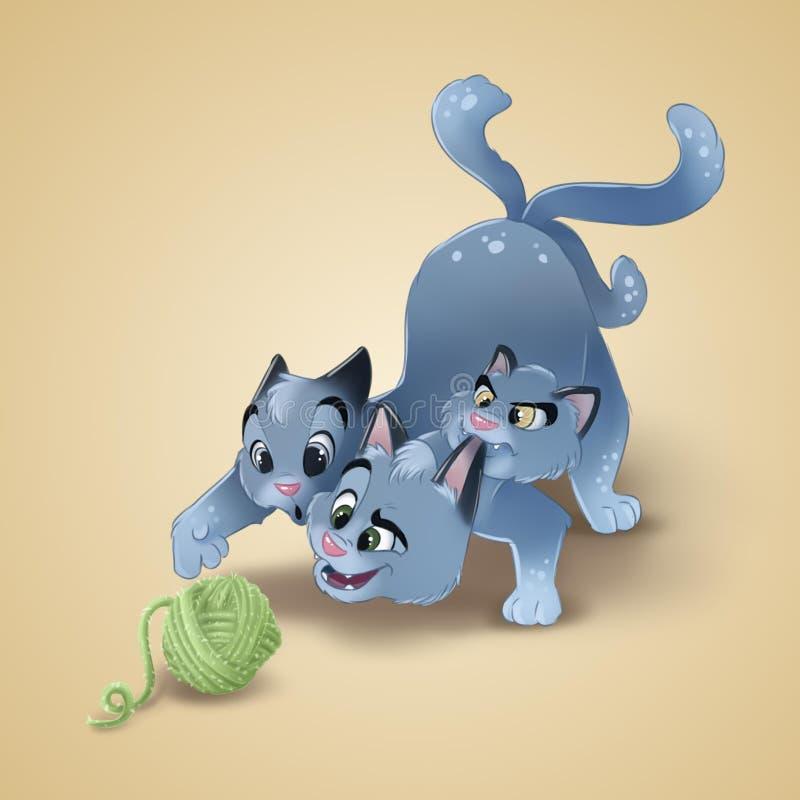 Szczęśliwy kreskówka kot bawić się z piłką wełna Trzy kota głowiasta ilustracja ilustracja wektor